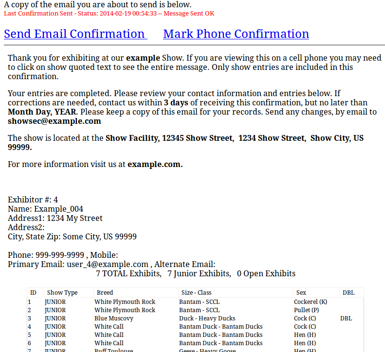 poultry show confirmations screenshot